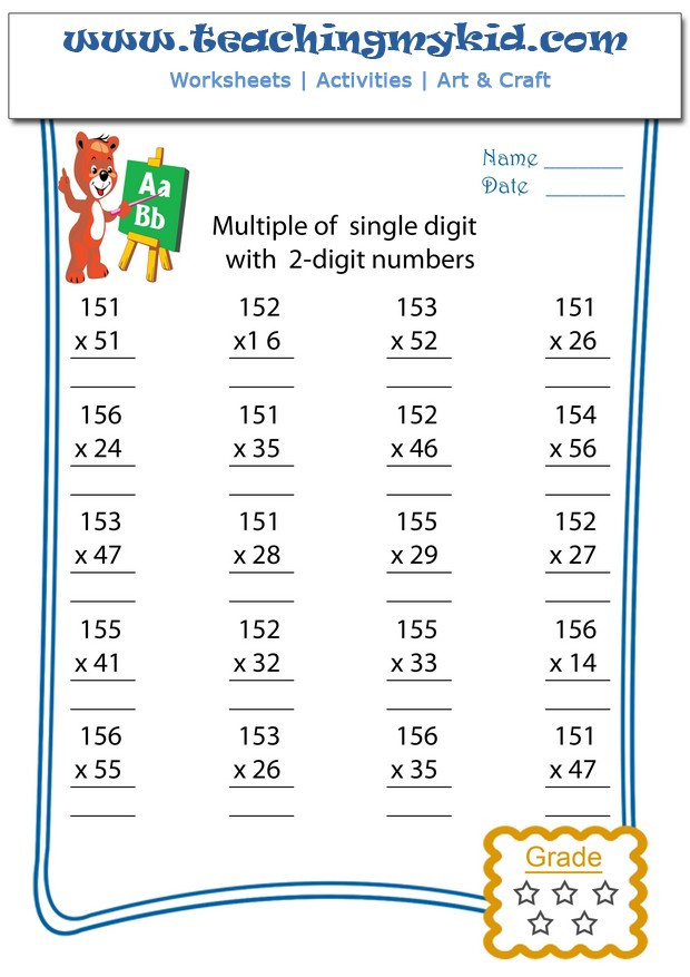 Multiples Of 3 Worksheet Multiply Multiple 3 Digits with 2 Digit Numbers Archives