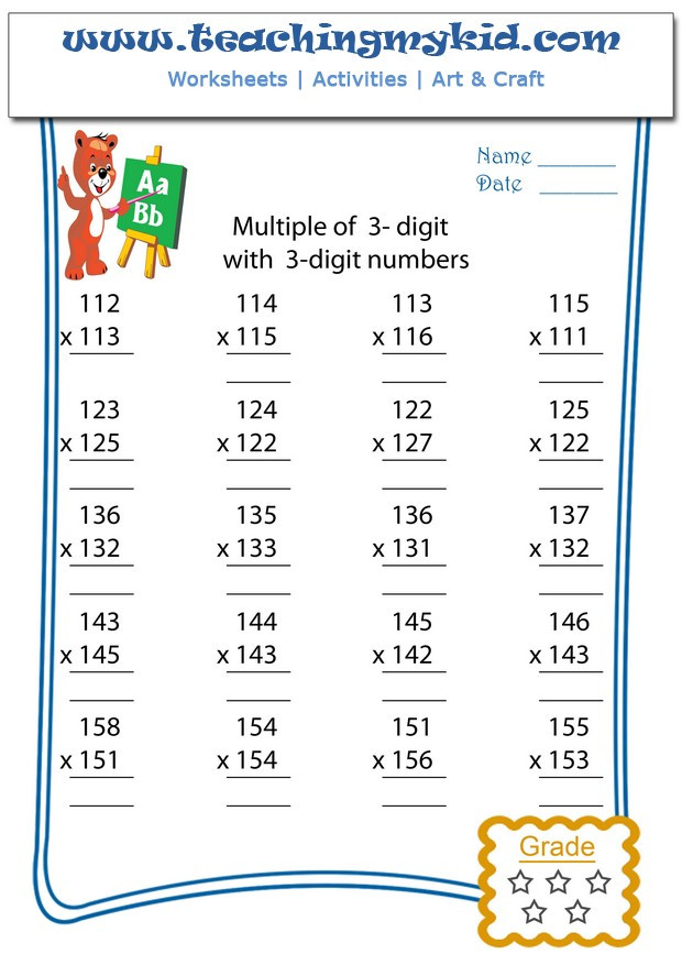 Multiples Of 3 Worksheet Multiply Multiple 3 Digits with 3 Digit Numbers Archives