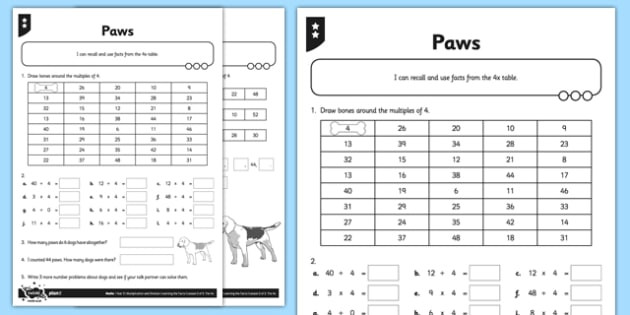 Multiples Of 4 Worksheets Differentiated Multiples Of 4 Worksheet Pack Teacher Made