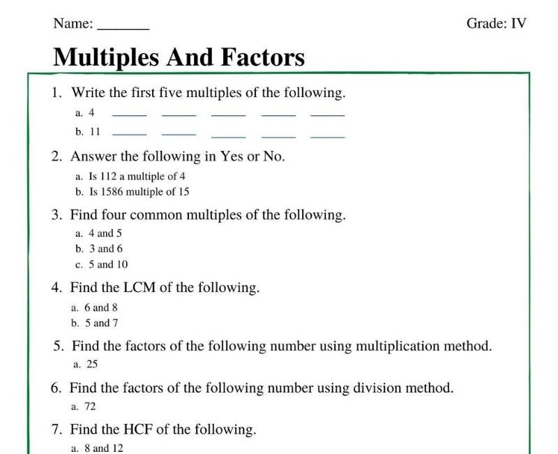 Multiples Of 4 Worksheets Multiples and Factors Worksheets for Grade 4