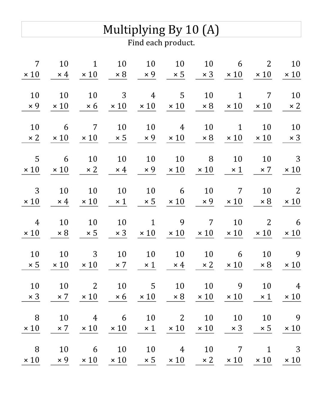 Multiples Of 4 Worksheets Multiples Of 10 Worksheets