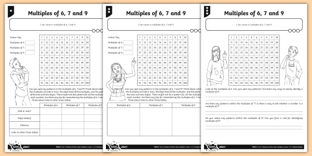 Multiples Of 6 Worksheet Multiples Of 6 7 and 9 Differentiated Activity Sheets