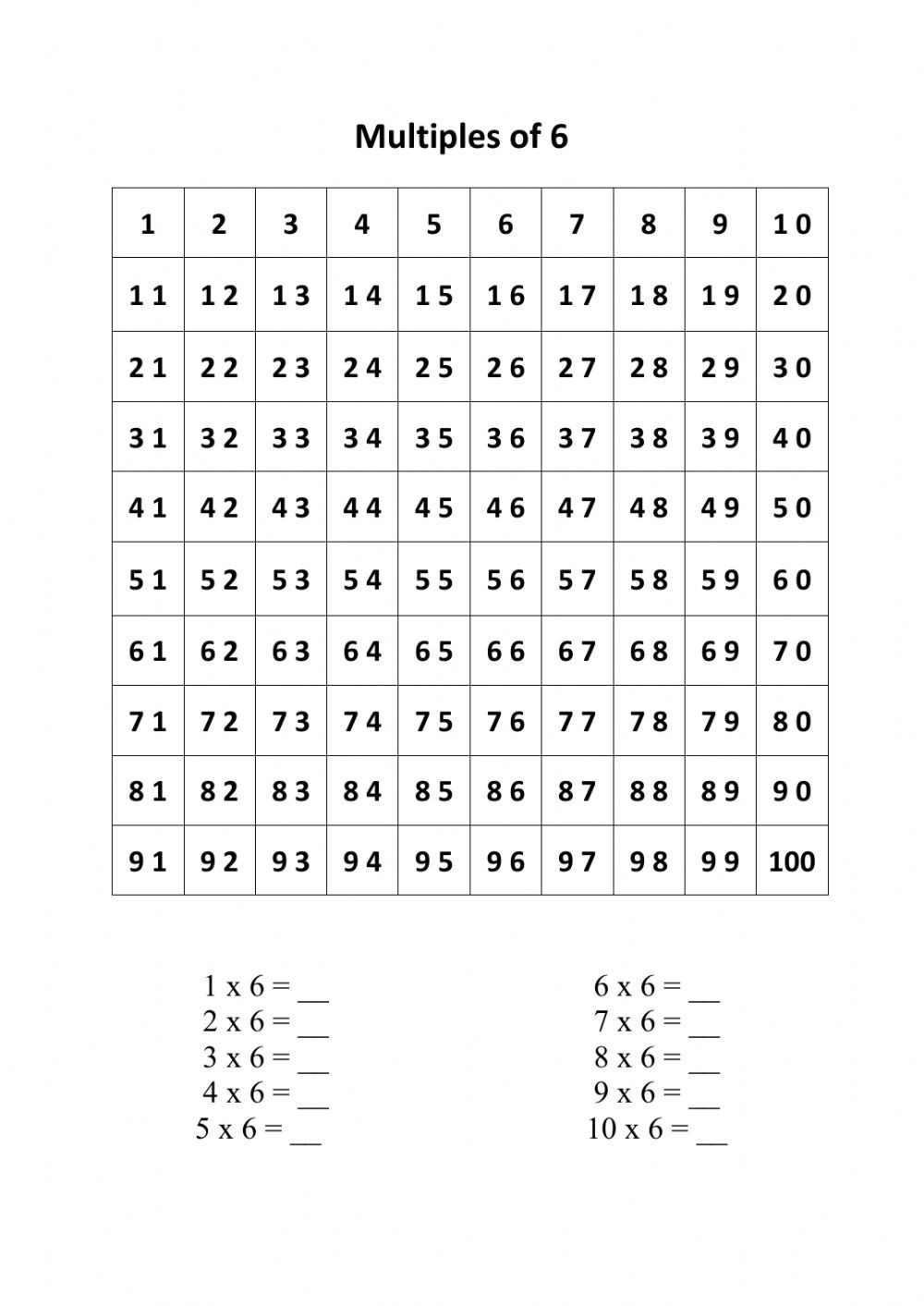 Multiples Of 6 Worksheet Multiples Of 6 Worksheet