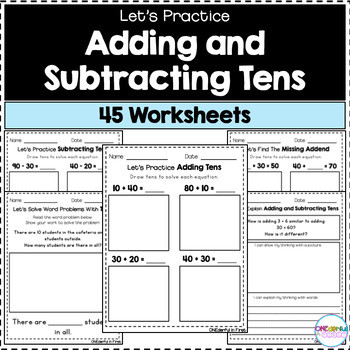 Multiples Of Ten Worksheet Adding and Subtracting Multiples Of 10 Worksheets by