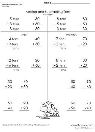 Multiples Of Ten Worksheet Adding and Subtracting Tens Worksheets 1 4