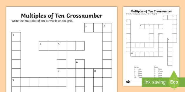 Multiples Of Ten Worksheet Ks1 Multiples Of 10 Crossnumber Worksheet Worksheet