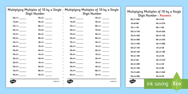 Multiples Of Ten Worksheet Multiplying Multiples Of 10 by 1 Digit Numbers A5 Worksheet