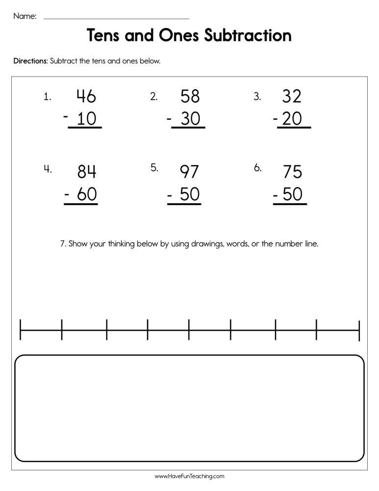 Multiples Of Ten Worksheet Subtraction Tens and Es Worksheet