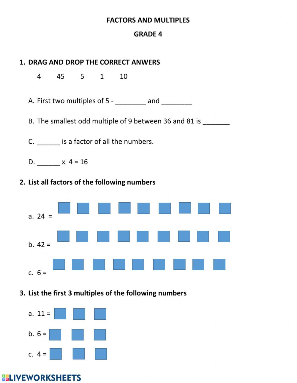 Multiples Of whole Numbers Worksheets Factors and Multiples Worksheet