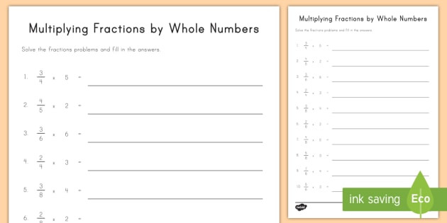Multiples Of whole Numbers Worksheets Multiplying Fraction Multiples by whole Numbers Worksheet