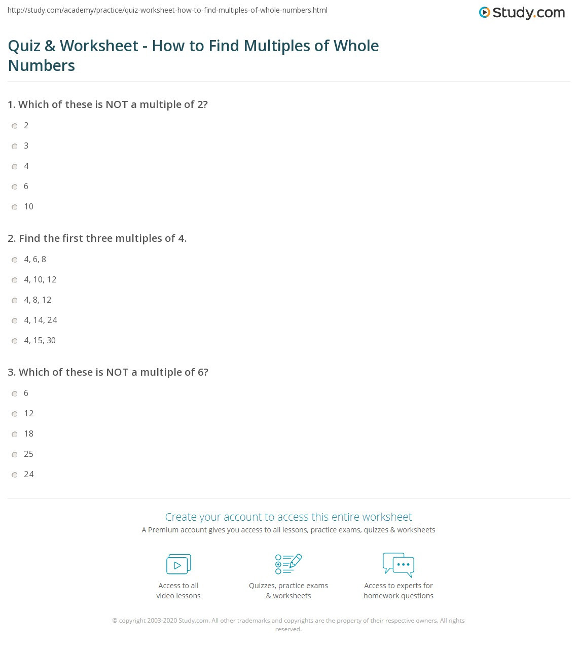 Multiples Of whole Numbers Worksheets Quiz & Worksheet How to Find Multiples Of whole Numbers