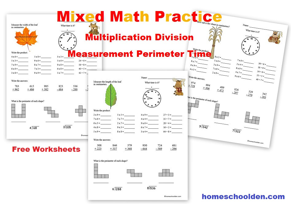 Mixed Math Practice Multiplication Division Measurement Perimeter Time Free Worksheets