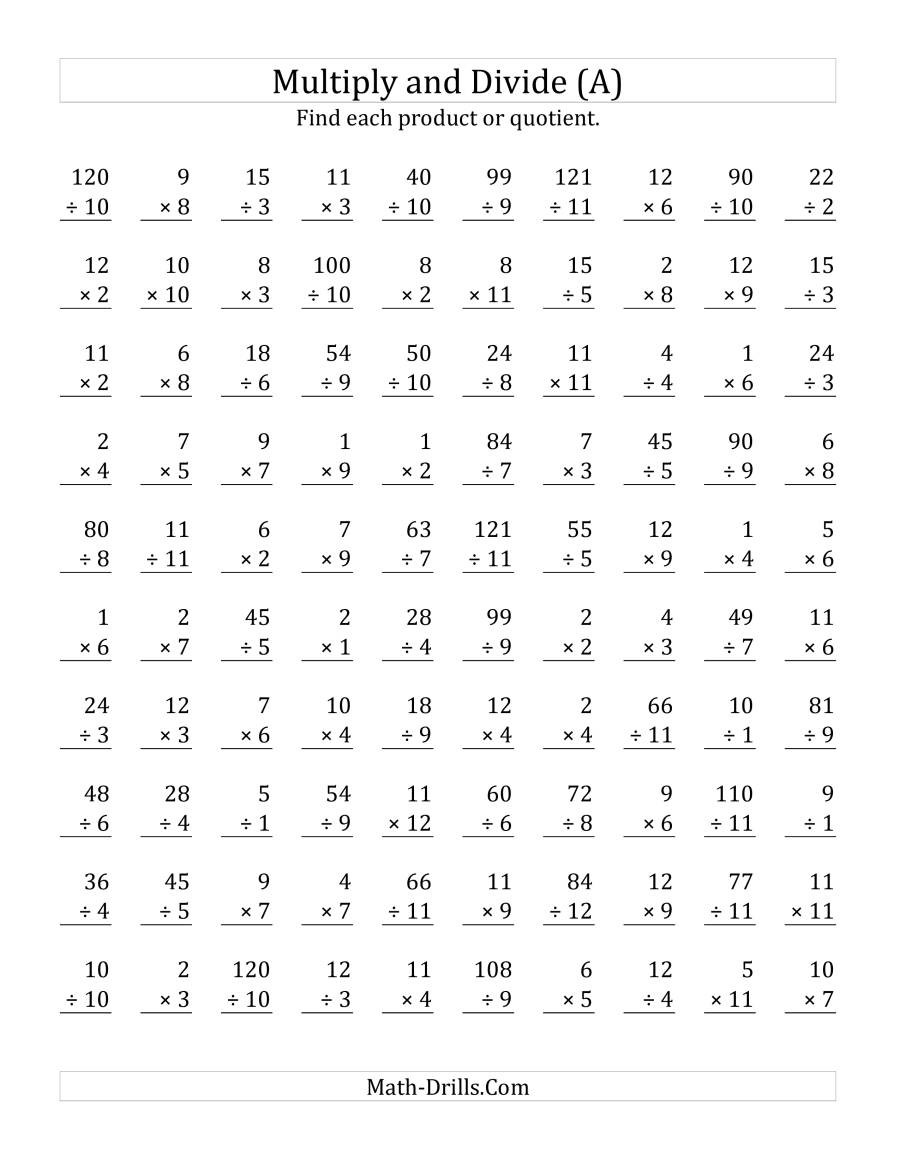 Multiplication and Division Practice Worksheets Multiplying and Dividing with Facts From 1 to 12 A