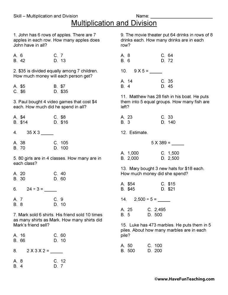 Multiplication and Division Practice Worksheets Third Grade Multiplication and Division Test Practice Worksheet