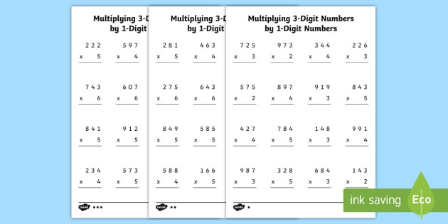 Multiplication by 1 Worksheets Multiplying 3 Digit Numbers by 1 Digit Numbers Worksheets