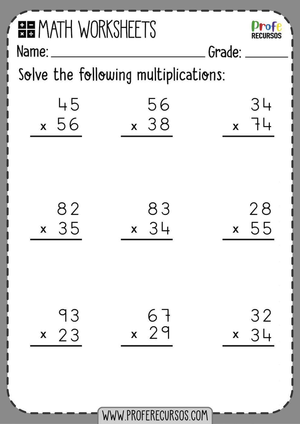 2 digit by 2 digit multiplication worksheets 2