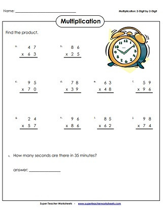 Multiplication by 2 Digits Worksheets Multiplication 2 Digits Times 2 Digits