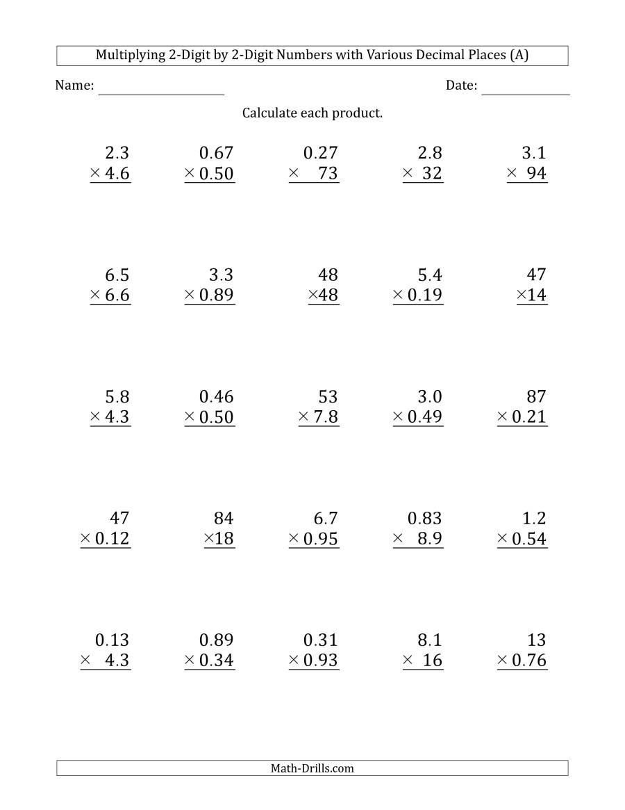 Multiplication by 2 Digits Worksheets Multiplying 2 Digit by 2 Digit Numbers with Various Decimal