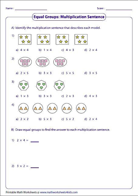 Multiplication by Grouping Worksheets Equal Groups & Multiplication Sentences