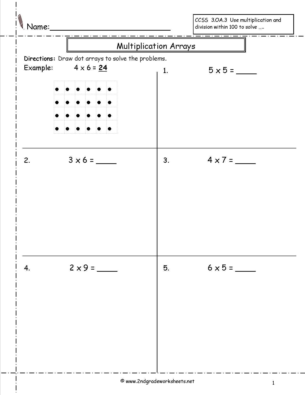 Multiplication by Grouping Worksheets Multiplication Arrays Worksheets