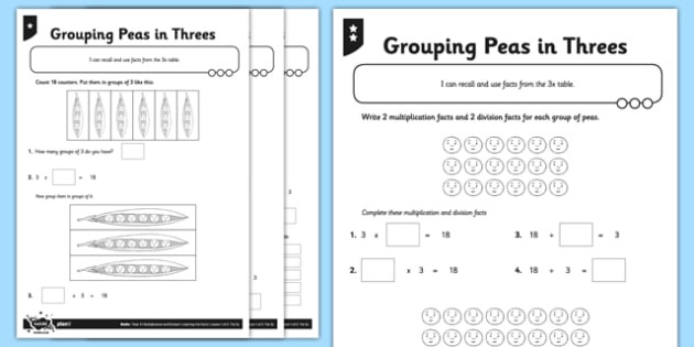 Multiplication by Grouping Worksheets Year 3 Differentiated Pea Pod Arrays Worksheet Pack Division""