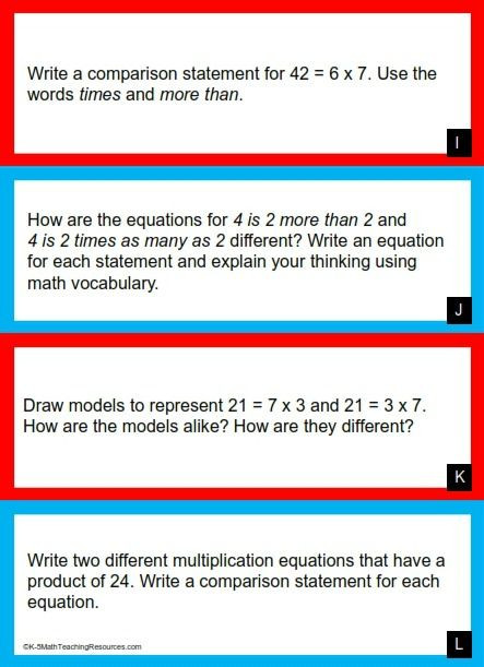 Multiplication Comparison Word Problems Worksheets 4th Grade Number