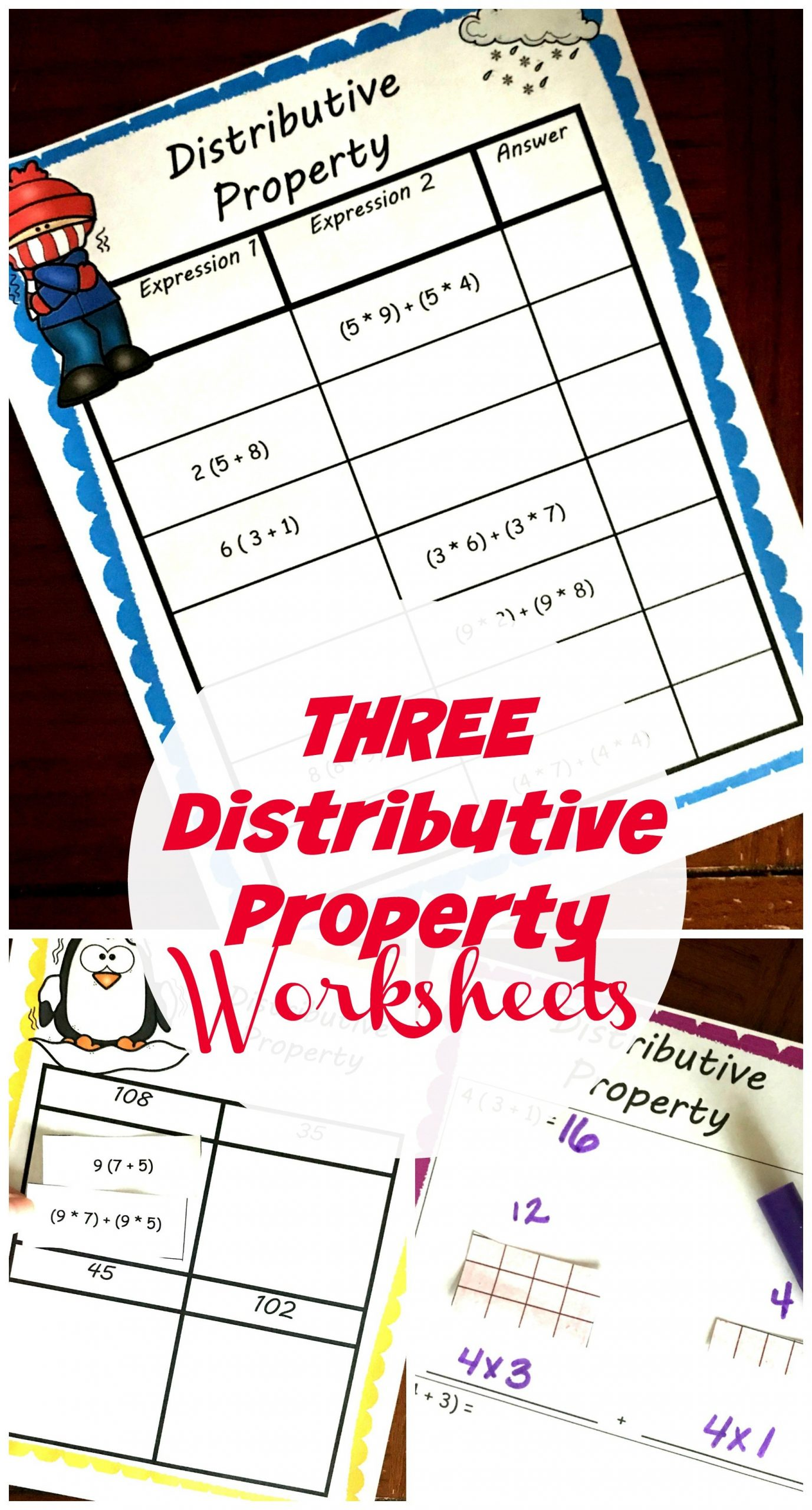 Multiplication Distributive Property Worksheet Three Free Distributive Property Worksheets with A Winter theme