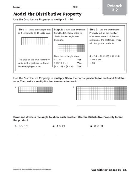 Multiplication Distributive Property Worksheets Model the Distributive Property Reteach Worksheet for 4th