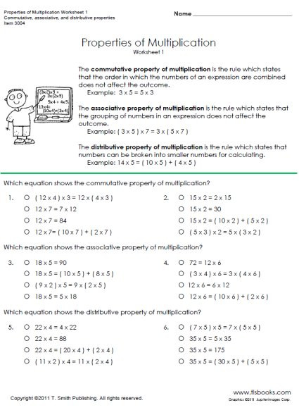 Multiplication Distributive Property Worksheets Properties Of Multiplication