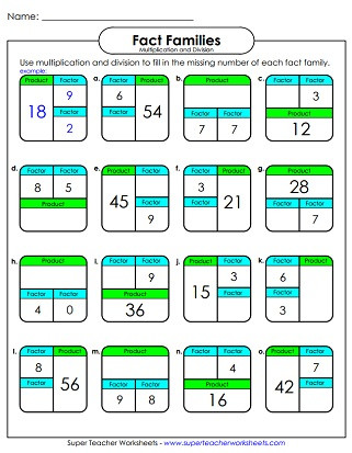 Multiplication Fact Families Worksheets Fact Family Worksheets Multiplication & Division