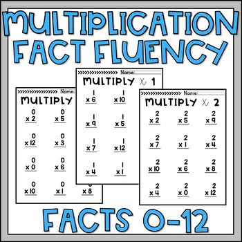 Multiplication Fact Fluency Worksheets Multiplication Fact Practice or assessment for Facts 0 12 by