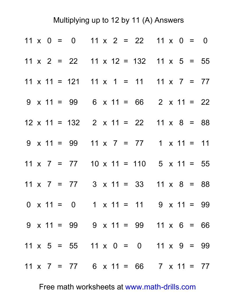 Multiplication Facts 0 12 Worksheet 36 Horizontal Multiplication Facts Questions 11 by 0 12 A