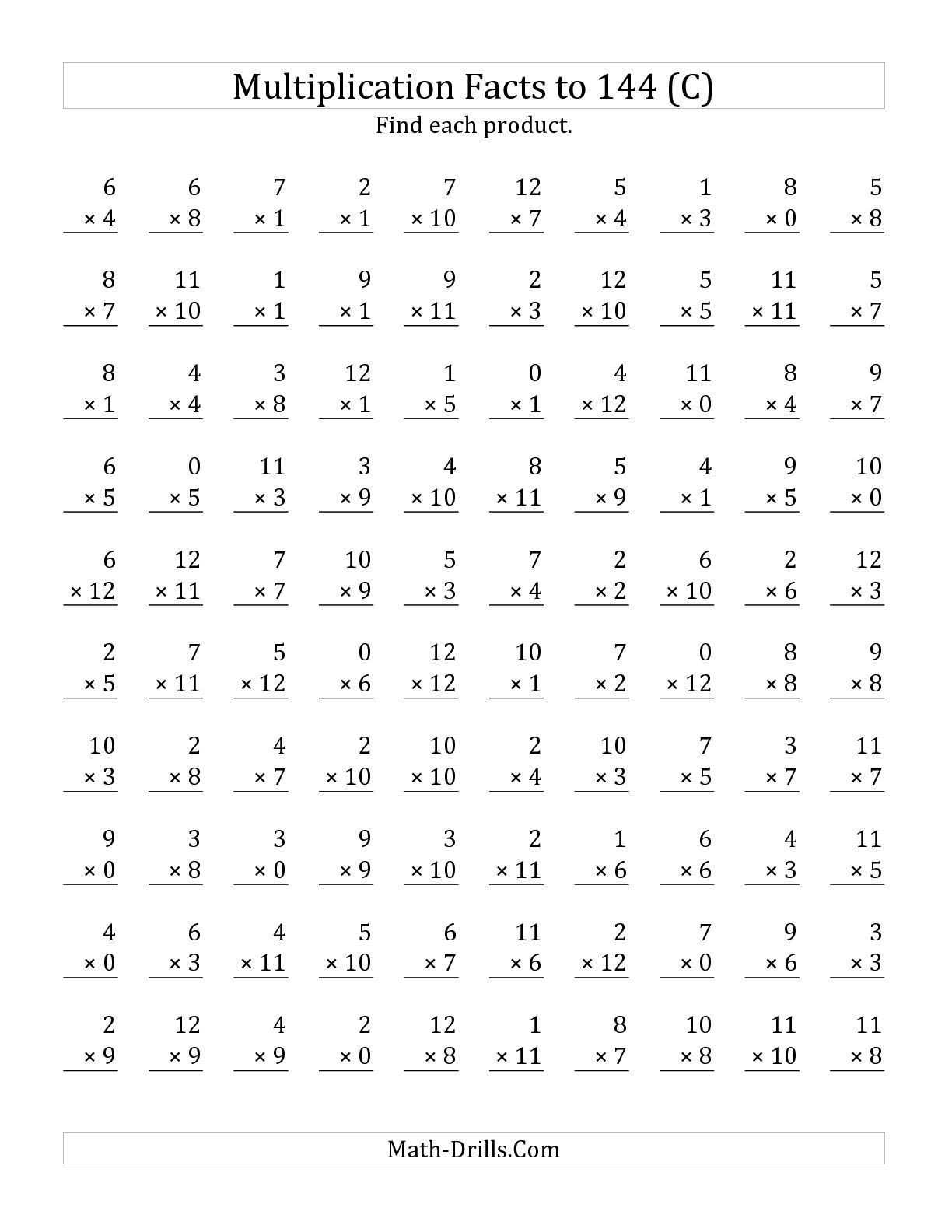 Multiplication Facts 0 12 Worksheet the Multiplication Facts to 144 Including Zeros C Math Wor