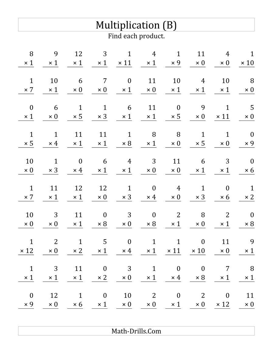 Multiplication Facts 0 12 Worksheet the Multiplying 1 to 12 by 0 and 1 B Math Worksheet
