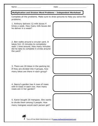 Multiplication Groups Of Worksheets Multiplication and Division Word Problems Independent Math