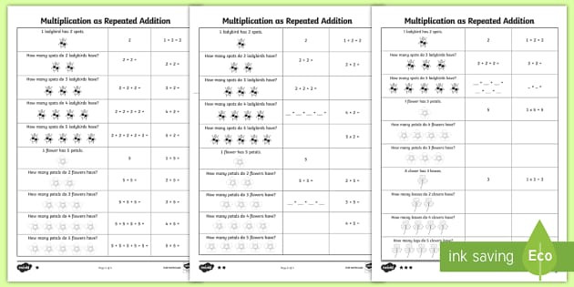 Multiplication Groups Of Worksheets Multiplication as Repeated Addition Differentiated Worksheets