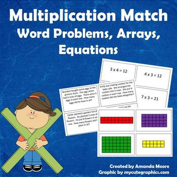 Multiplication Match Up Worksheet Multiplication Word Problems Arrays & Equations Match Up Mon Core Aligned