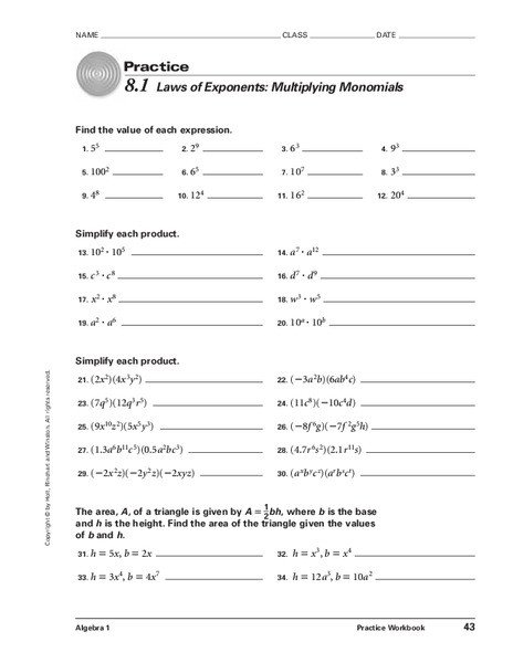 Multiplication Of Monomials Worksheet 8 1 Laws Of Exponents Multiplying Monomials Worksheet for