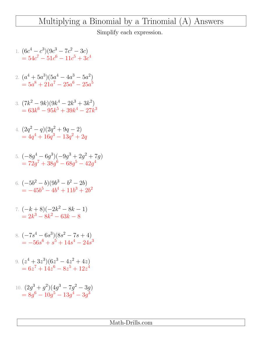 Multiplication Of Monomials Worksheet Multiplying A Binomial by A Trinomial A