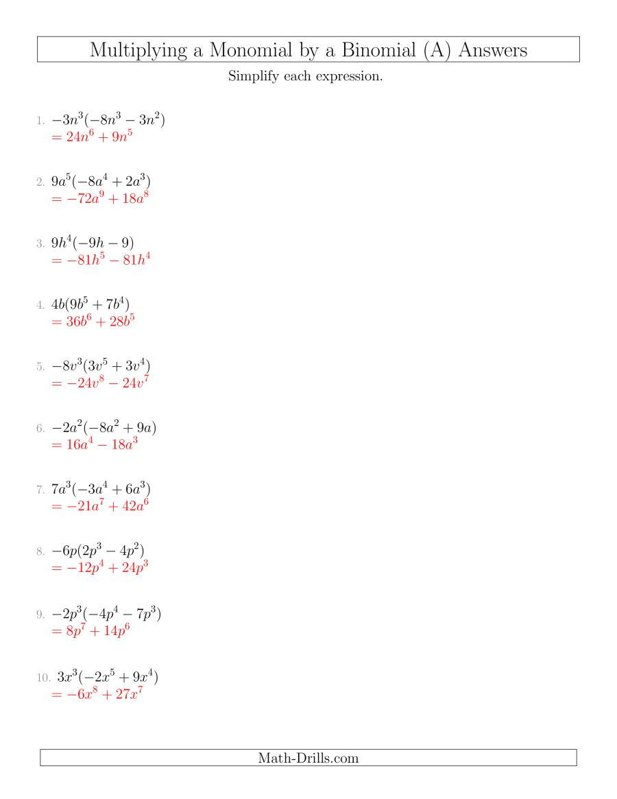 Multiplication Of Monomials Worksheet Multiplying A Monomial by A Binomial A