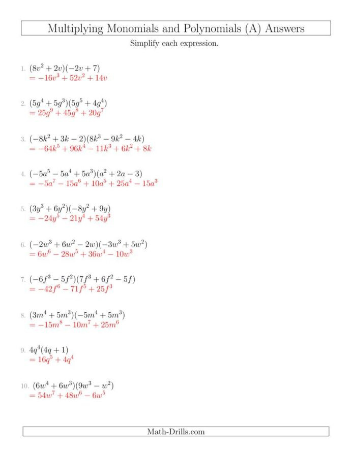 Multiplication Of Monomials Worksheet Multiplying Monomials and Polynomials with Two Factors Mixed