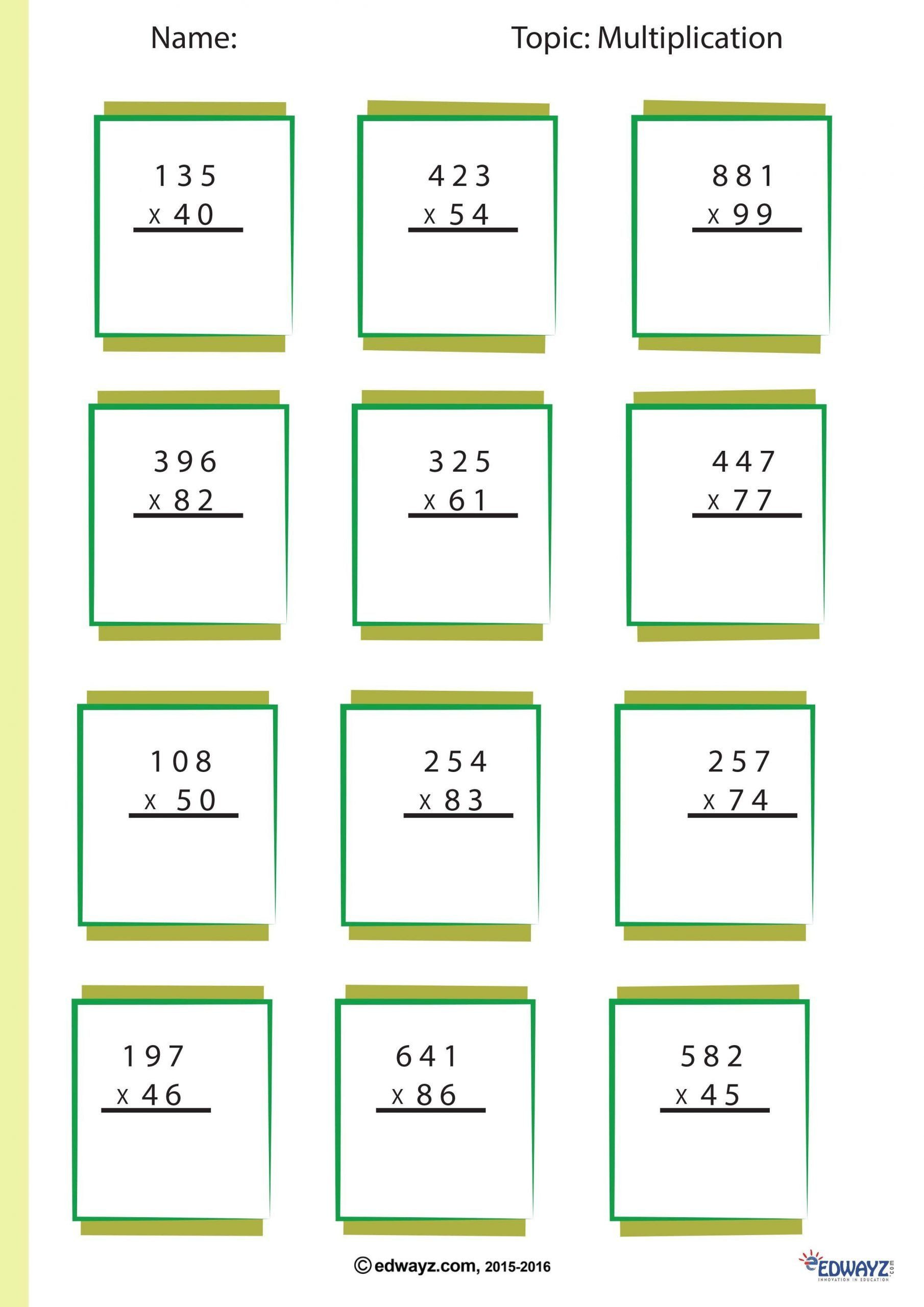 Multiplication Partial Product Worksheet Box Method Multiplication Worksheet Partial Products