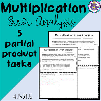 Multiplication Partial Products Worksheet Multiplication Error Analysis Partial Products
