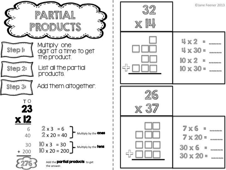 Multiplication Partial Products Worksheets Interactive Math Journal for Operations