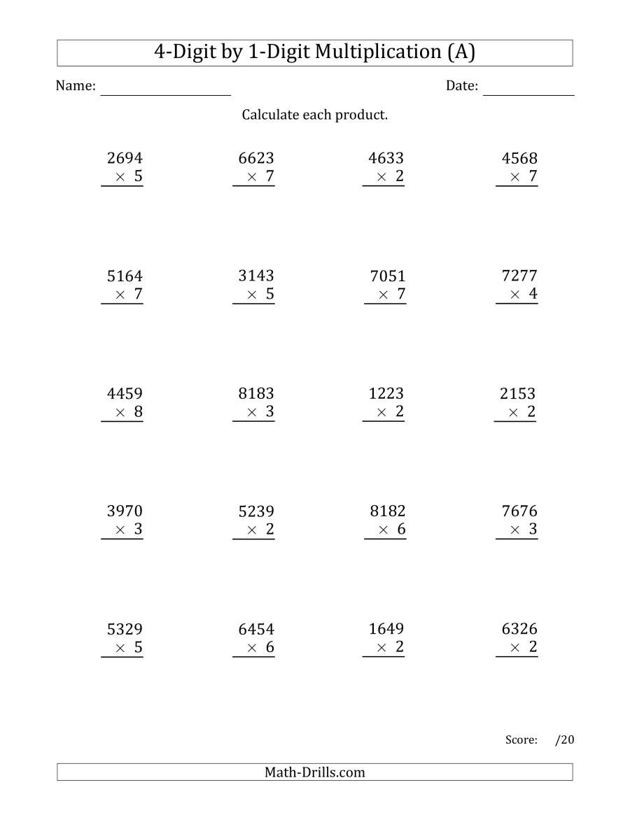 Multiplication Partial Products Worksheets Multiplying 4 Digit by 1 Digit Numbers A