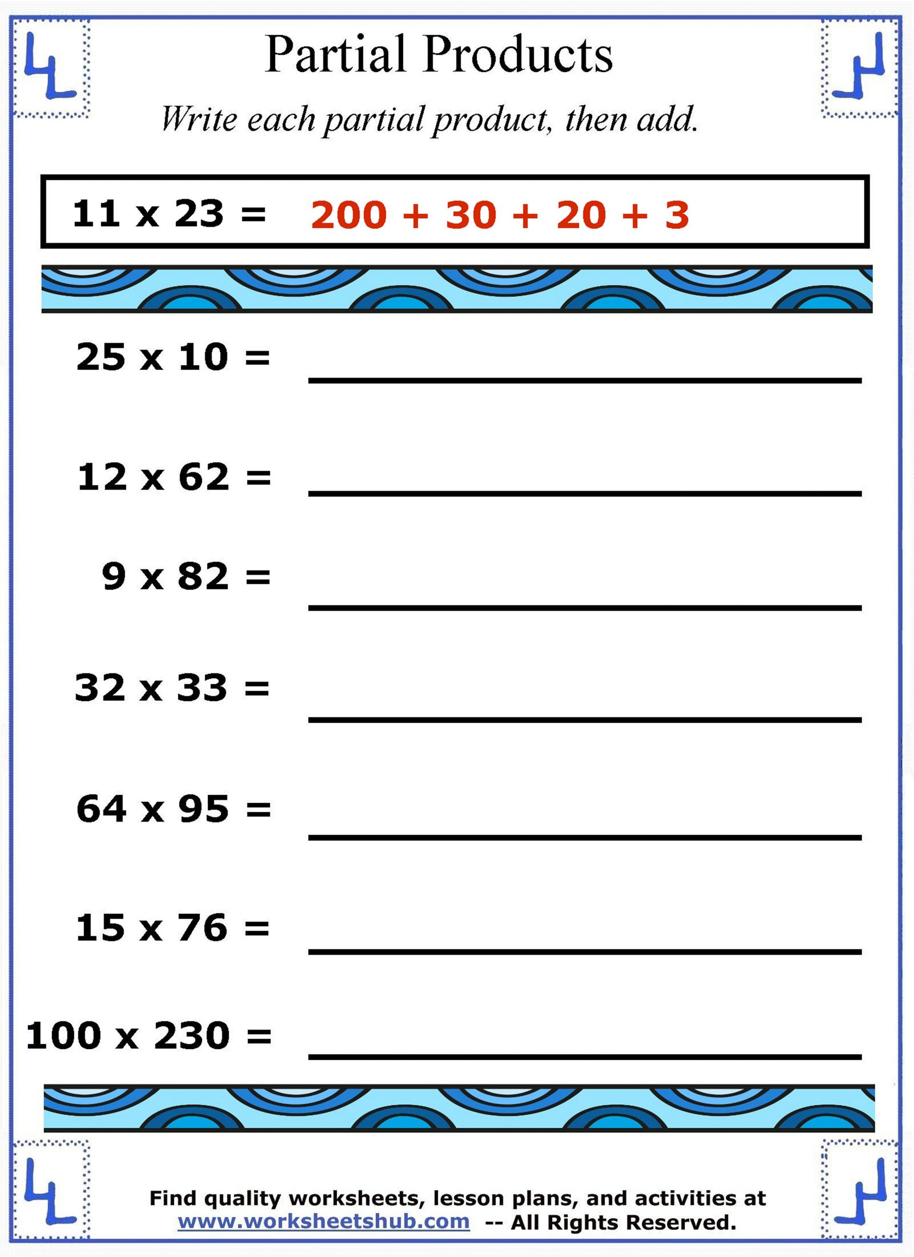 Multiplication Partial Products Worksheets Partial Products Multiplication Strategies