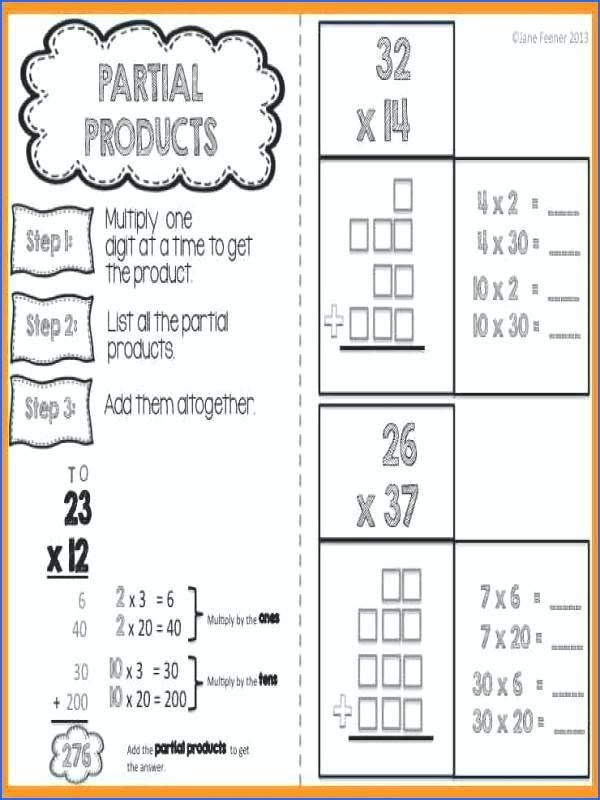 Multiplication Partial Products Worksheets Partial Products Worksheets Free Product Multiplication