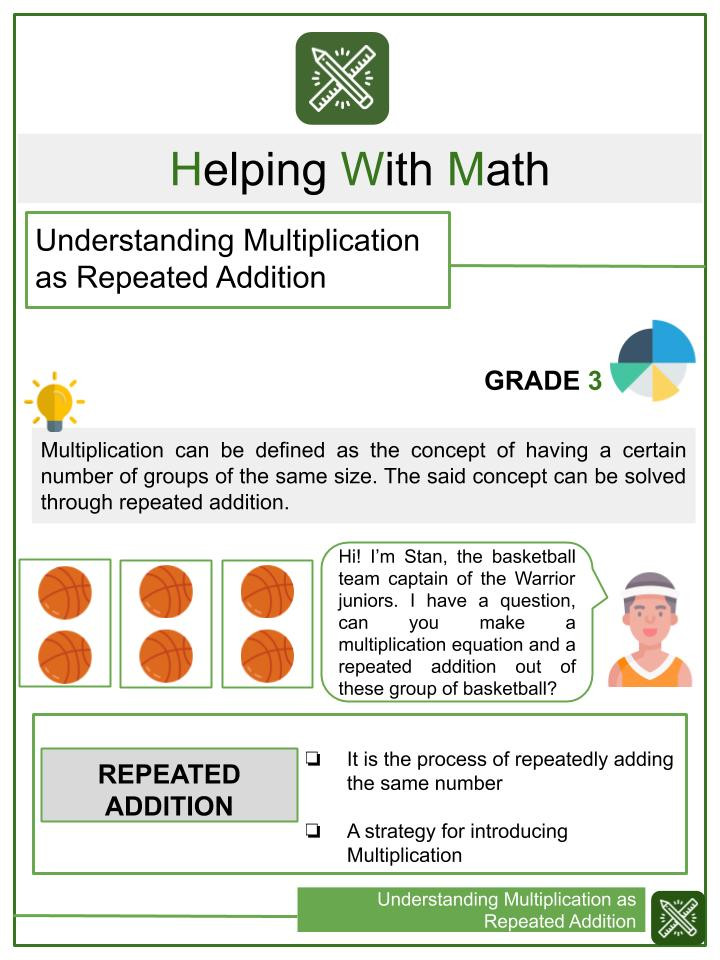 Understanding Multiplication as Repeated Addition Worksheets