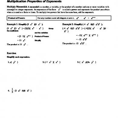 Multiplication Property Of Exponents Worksheets 7 1 Multiplication Properties Exponents Worksheet