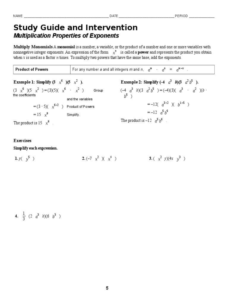 Multiplication Property Of Exponents Worksheets 7 1 Multiplication Properties Of Exponents Worksheet